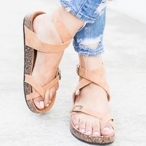 NEW ARRIVAL LADIES STRAPPY BUCKLE CORK SANDALS.TAN